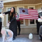 Video: Satanic Temple pours milk over women in prayer at anti-Planned Parenthood protest